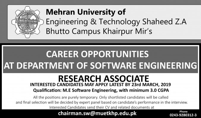 Research Associate at MUET SZAB